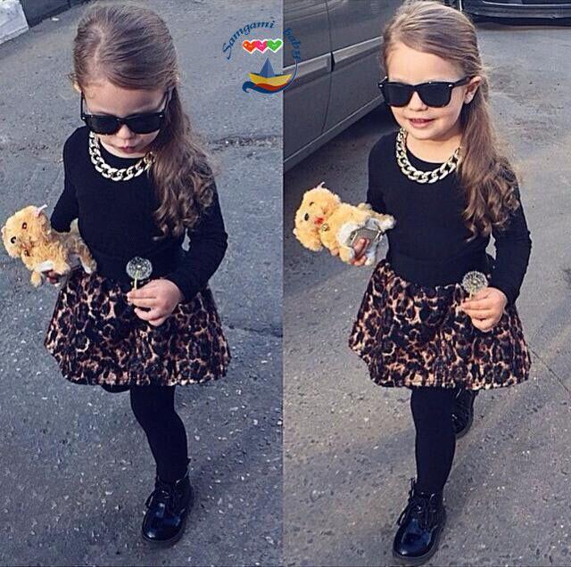 194e5eafb Venta al por mayor- Ropa de moda para niña establece ropa de otoño para  niños ropa de algodón para bebés niña estampado de leopardo camisas ...