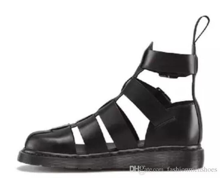 2017 männer sommer stiefel aus echtem leder booties handgefertigt schneidet männer schuhe gladiator sandalen booties schnalle botas