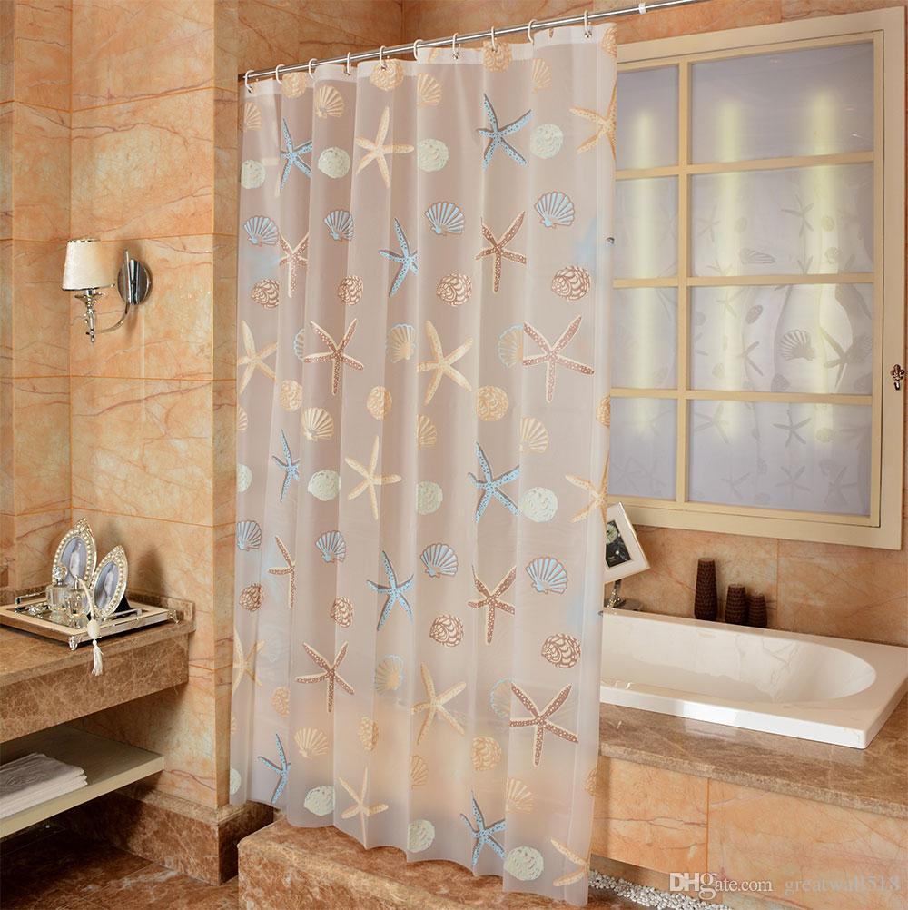 방수 샤워 커튼 PEVA 곰팡이 욕실 커튼 귀여운 불가사리 패턴 후크 무료 인쇄 도매업 LJ022