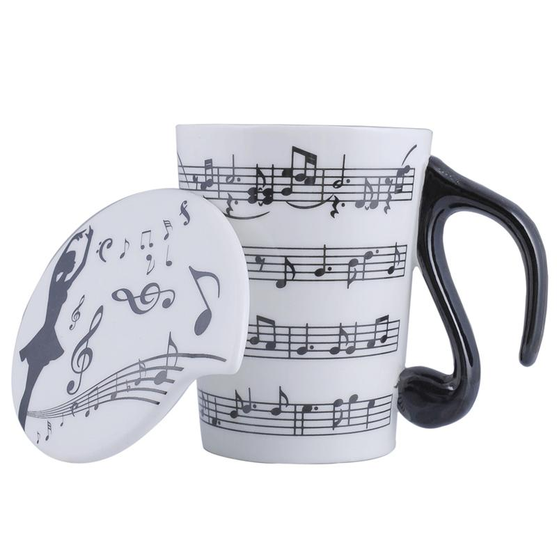 Creative Ceramic Musician Coffee Mug Tea Cup with Lid Music Notes as Valentine's Day Gift Teacher Gifts