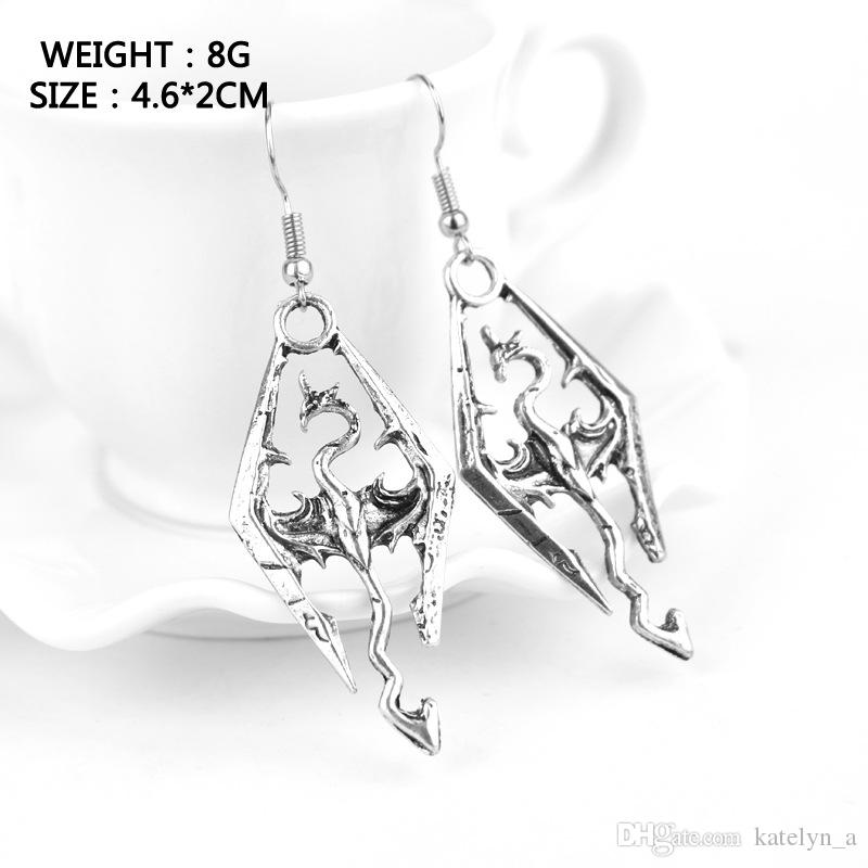 Silver Color Hot Sale Elder Scrolls Skyrim dragon earrings Alloy Drop Pendent Earring High Quality Gift For Fans Movie Jewelry