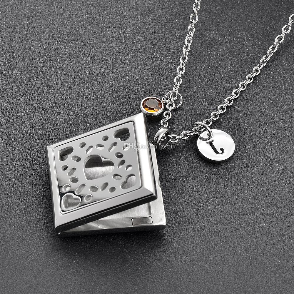 IJPD0006 Herz Gravierte Quadratische Edelstahl Ätherisches Öl Medaillon Diffusor Anhänger Halskette Parfüm Aromatherapie Halskette Freies Pads