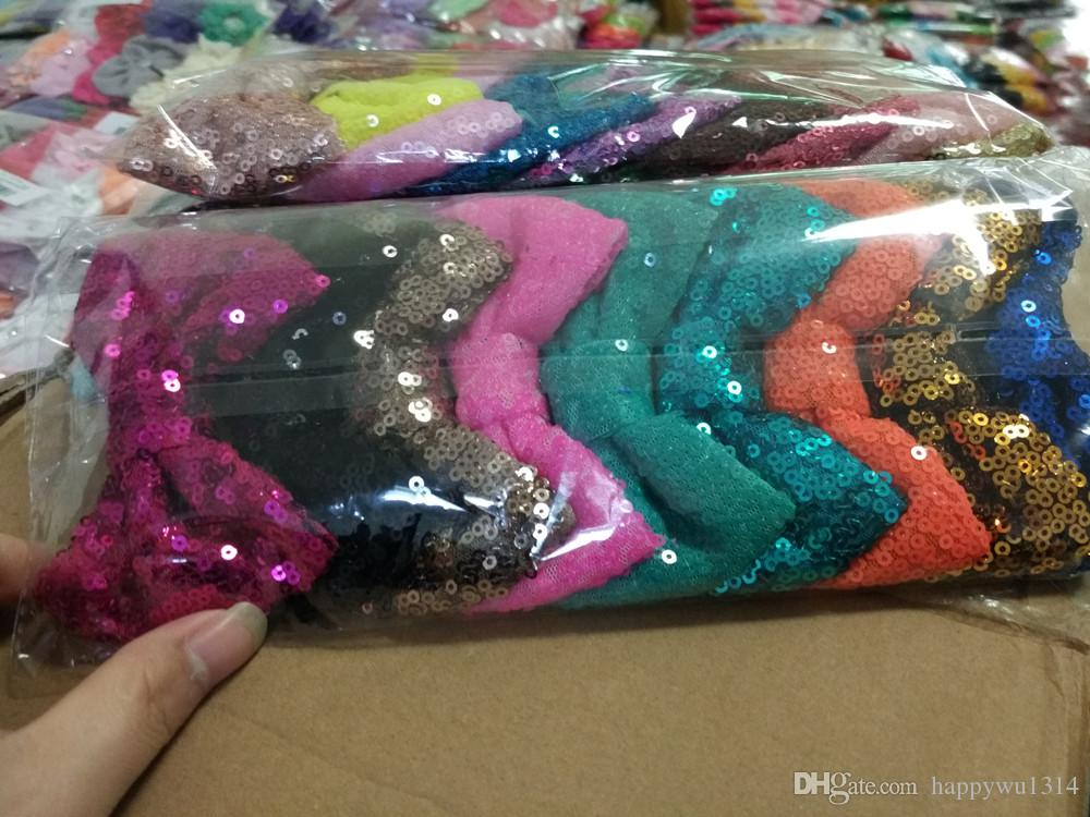 4 Inch Sequin Bow DIY Headbands Accessories Baby Boutique Hair Bows without Alligator Clip for Girls