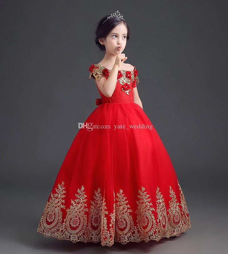 Elegant Red Princess Girls Pageant Dresses Off Shoulder Applique Floor Length Ball Gown Pageant Dresses For Teens Toddler Girls Flower Dress