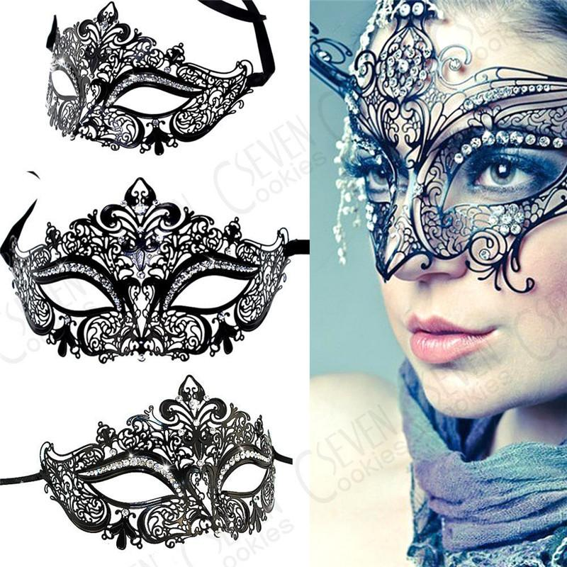 Máscara de luxo Masquerade Strass Laser Cut Black Metal Máscara Venetian Partido Do Dia Das Bruxas Fácil Máscara Favores Do Partido