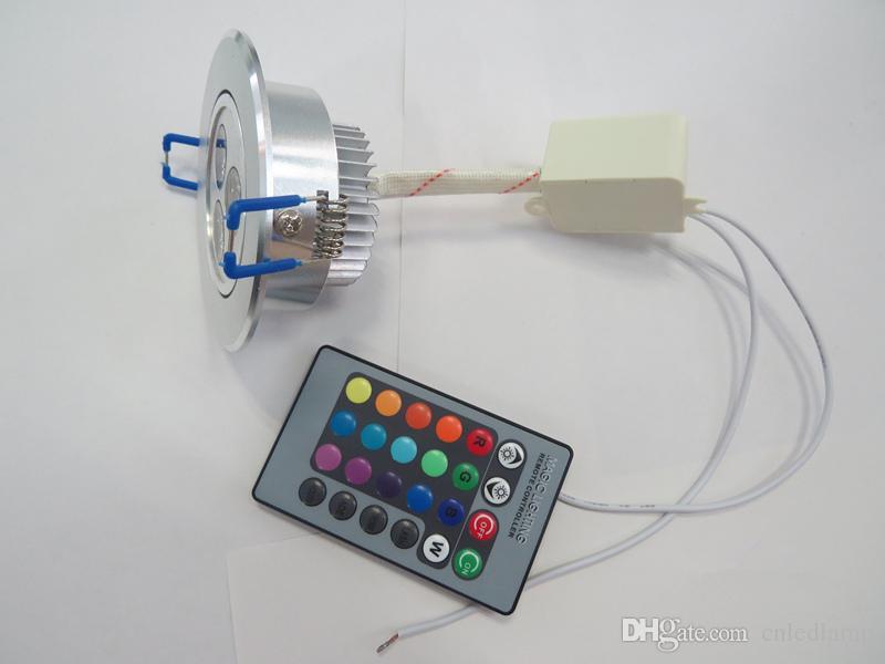 3W 30 ° Angle de faisceau RVB LED Plafonnier AC85-265V rotatif Downlights Ampoule Lampe avec télécommande