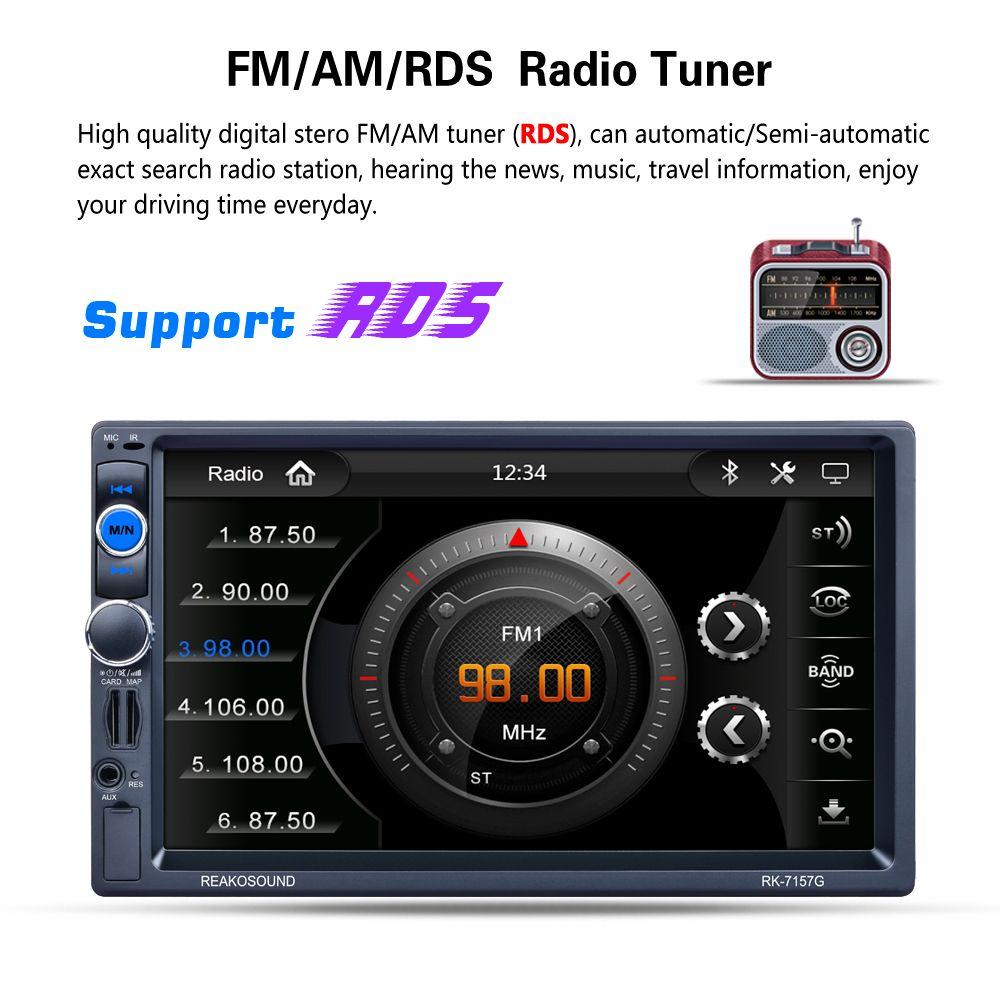 Lecteur multimédia universel 7 pouces 2 din Bluetooth auto stéréo voiture MP5 Navigation GPS AM FM Radio RDS Moniteur CMO_223