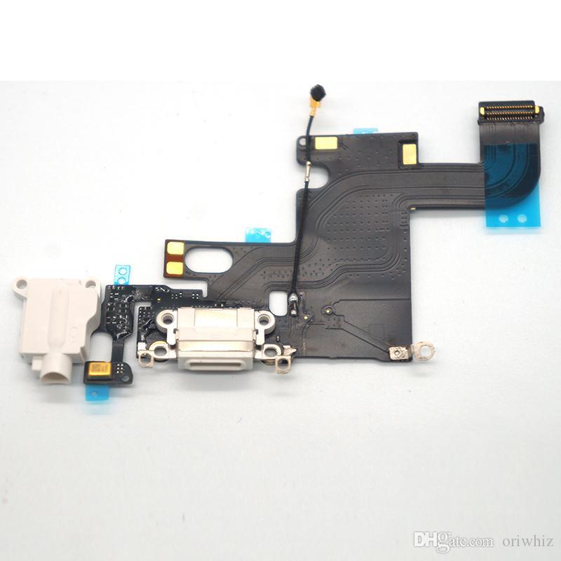 iPhone 6 6 Plus 6Plus Caricatore dock USB Caricando le cuffie Porta audio Cavo flessibile Parte di ricambio Colore bianco Nero Può mescolare l'ordine