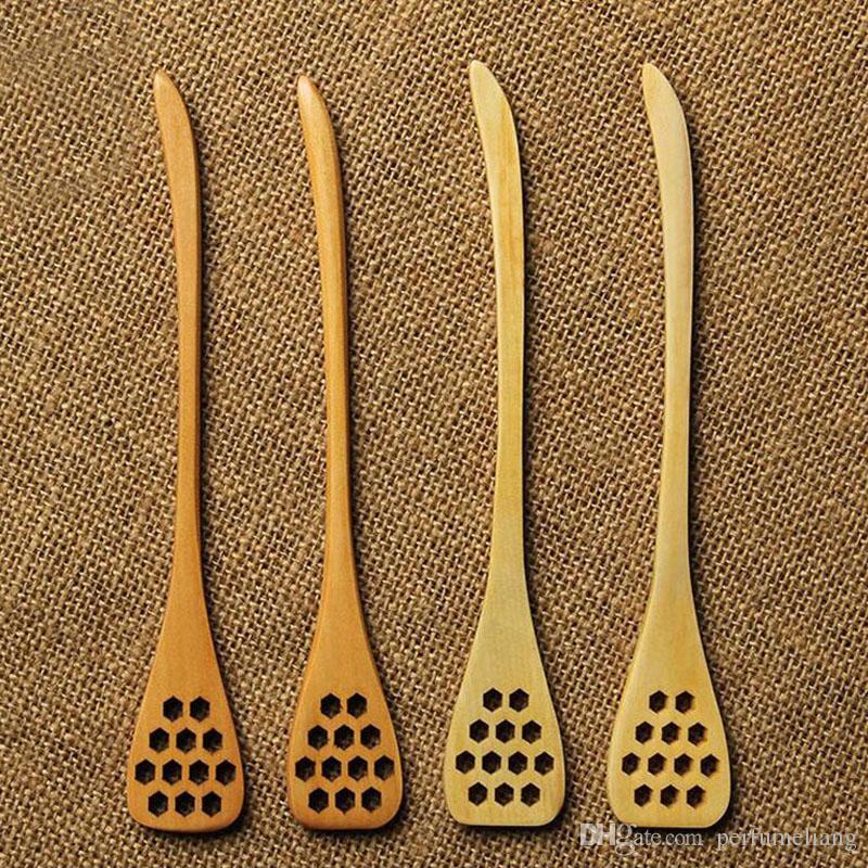 18.5 cm intaglio in legno miele agitazione cucchiai a nido d'ape intagliato scava fuori miele dipper attrezzo della cucina posate accessorio ZA3398