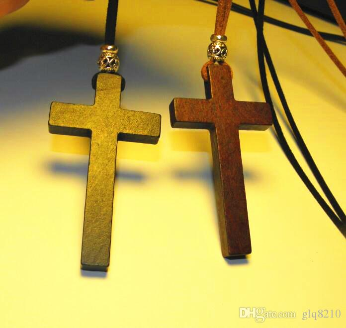 Christianity Jesus Wooden Cross pendant necklace vintage Tibetan silver beads long sweater chain lovers handmade stylish 2017 New