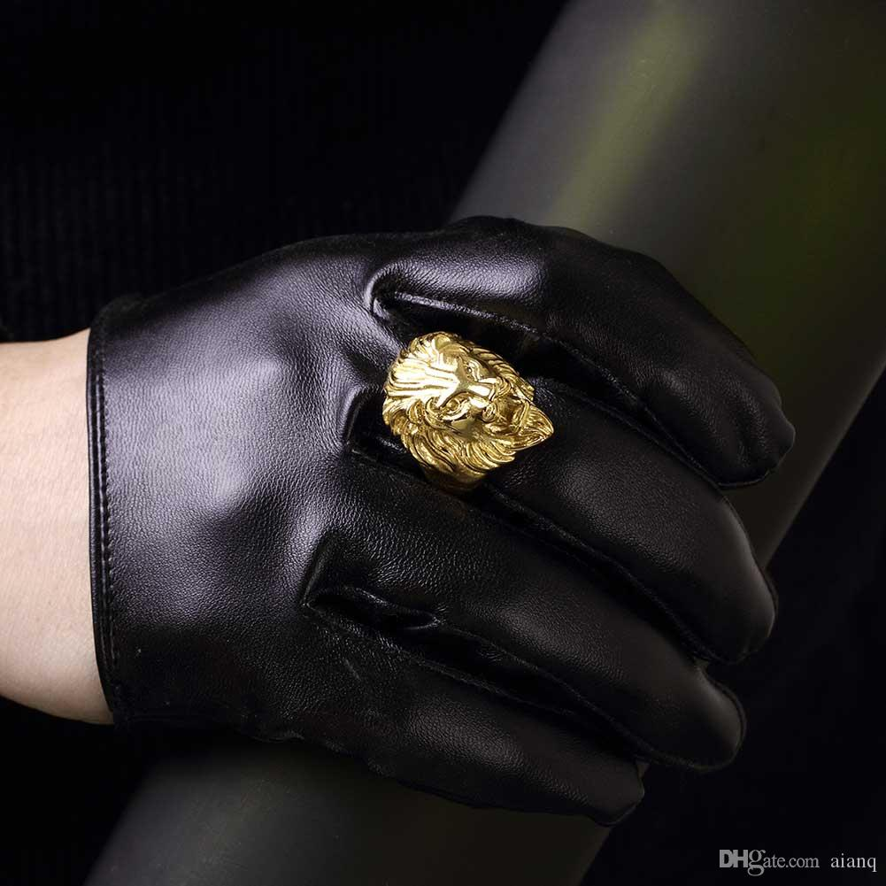 Mode männer gold edelstahl männer ring übertrieben dominierende mode löwen kopf stahl ring vintage gothic punk ring ring männer juwel
