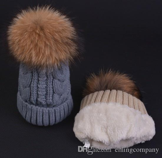 47bb3b7f945 Quality Cable Knitted Yarn Thick Beanies Racoon Dog Fur Ball For ...