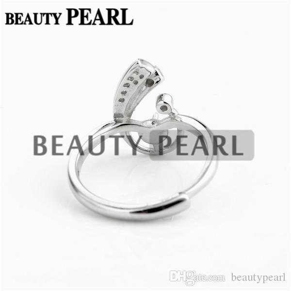 Jewellery Findings Zircon 925 Sterling Silver Ring Blanks with Pin Cup for Attaching Pearls