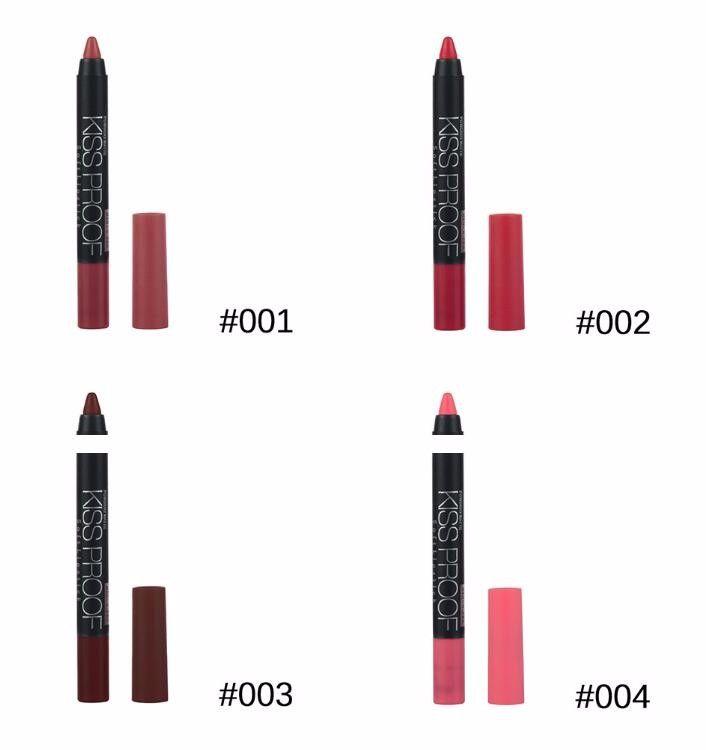 Venta al por mayor-/ Menow Maquillaje Mate beso prueba lápiz labial Efecto duradero Powdery Suave impermeable Lápiz labial Lápiz labial Lápiz crayón