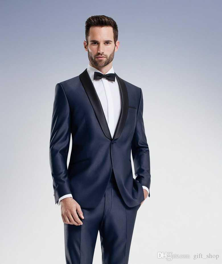 2017 Wholesale 2017 Navy Blue High Quality Groom Tuxedos Shawl ...