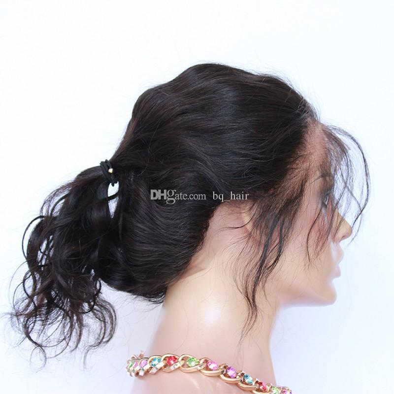 Pre desplumado cierre frontal de encaje 360 con el pelo del bebé 9A Onda del cuerpo del cabello humano de la Virgen malasia Cierre frontal de encaje completo con banda elástica