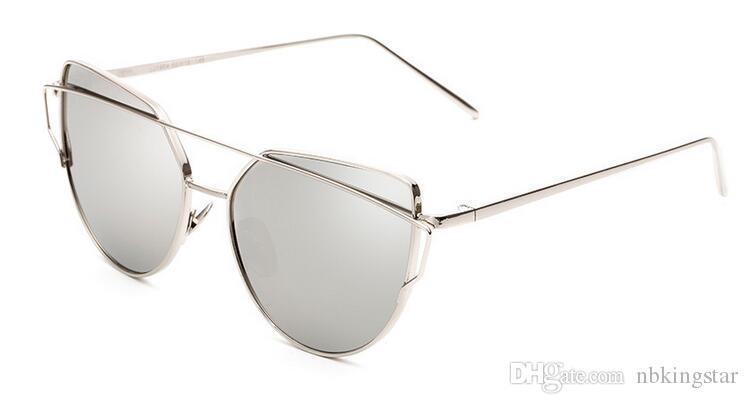 Art- und Weisefrauen-Katzenauge-Sonnenbrille-flacher Objektiv-Spiegel-Marken-Art-Metallrahmen übergroße reflektierende Sonnenbrille / Freies Verschiffen