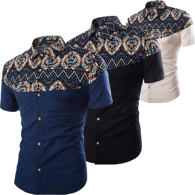 3eb5d3e70a0f 2019 Wholesale 2017 Summer Fashion Cotton Linen Shirts Men Short Sleeve  African Floral Printed Shirt For Men Beige Black N From Yujiu, $35.18 |  DHgate.Com