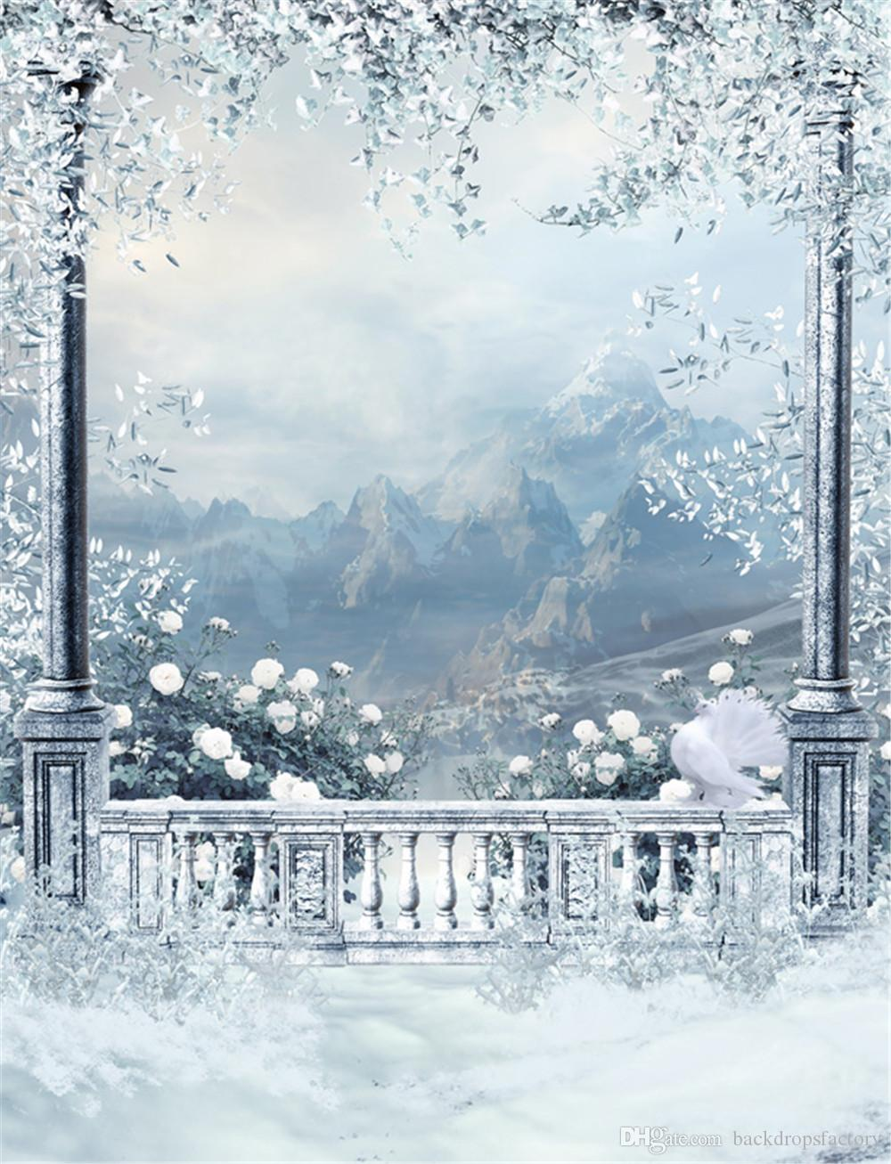 2018 Winter Snow Scenic Wallpaper Outdoor Background White Pigeon Trees Leaves Mountains Vintage Castle Balcony Wedding Photography Backdrops From