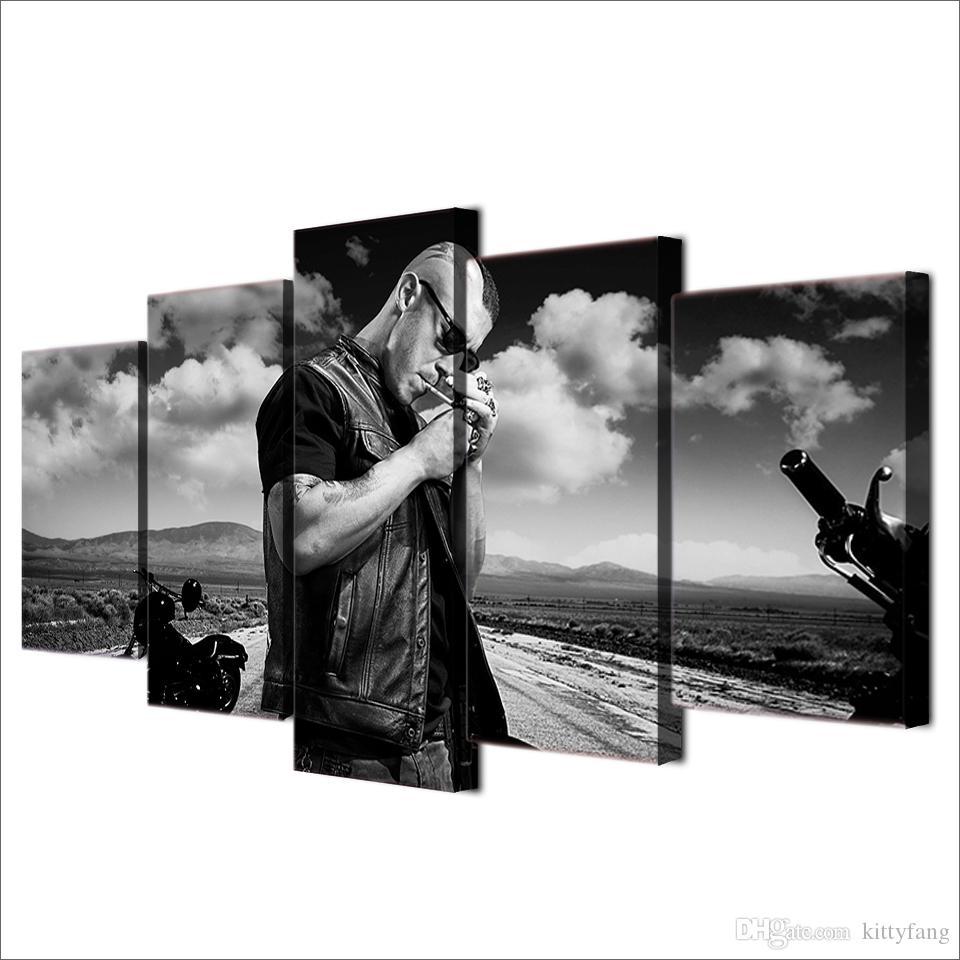 / Set Encadrée HD Imprimé Noir Et Blanc Figure Affiche Image Mur Art Chambre Décor Toile Film Moderne Peinture À L'huile