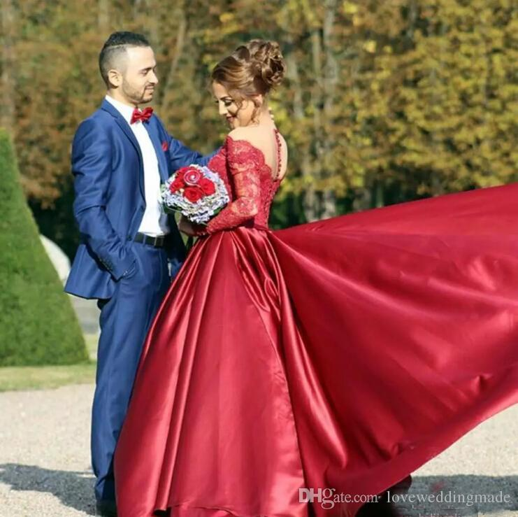 Elegant Burgundy Long Prom Dresses 2019 Long Sleeves Applique Lace Satin Formal Evening Gowns For Bridal Receptionn With Sweep Train