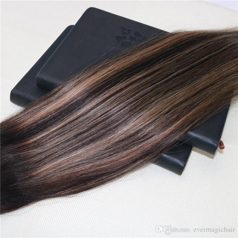 Balayage color # 2 # 27 a la decoloración omber extensiones de la trama del pelo 100% del pelo humano de Remy de la armadura real Slik recta 8a Grado trama del pelo