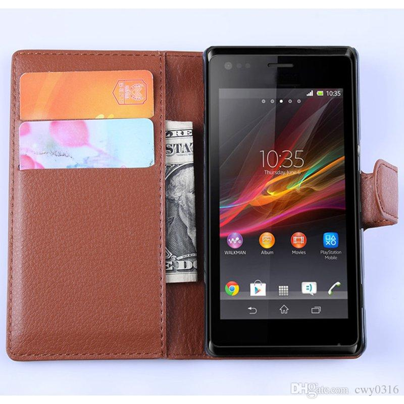 premium selection 59ba0 caa30 Luxury Leather Book Case For Sony Xperia M C1905 C1904 Dual Vintage Wallet  Flip Cover With Magnetic Buckle Ultra Thin