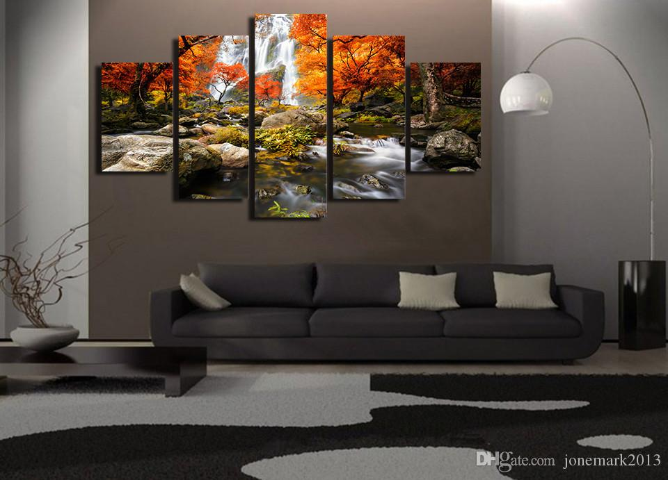 Framed HD Printed Waterfall Maple Tree Picture Wall Art Canvas Room Decor Poster Canvas Abstract Oil Painting