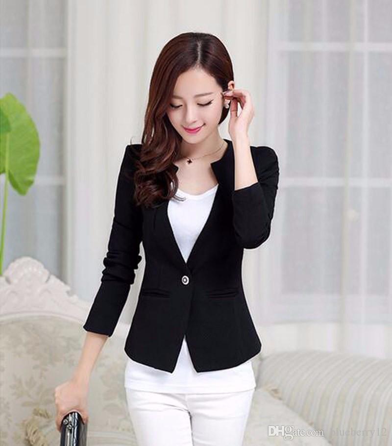 Frühlings-Frauen nehmen Blazer-Mantel-neue Art- und Weisebeiläufige Jacken-lange Hülsen-ein Knopf-Klage-Damen-Blazer-Arbeits-Geschäfts-Anzüge ab