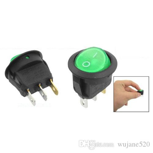 SPST Round Button Rocker Switch Red Green Light Lamp Illuminated 2 Position 3 Terminal ON-OFF l/O 6A/250V 10A/125V AC