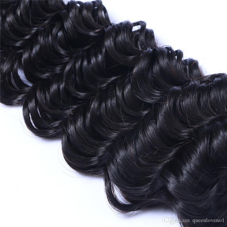 Brezilyalı Derin Dalga Curl 100% Işlenmemiş İnsan Bakire Saç Örgüleri Remy İnsan Saç Uzantıları İnsan Saç Örgüleri Boyutlu 3 Demetleri