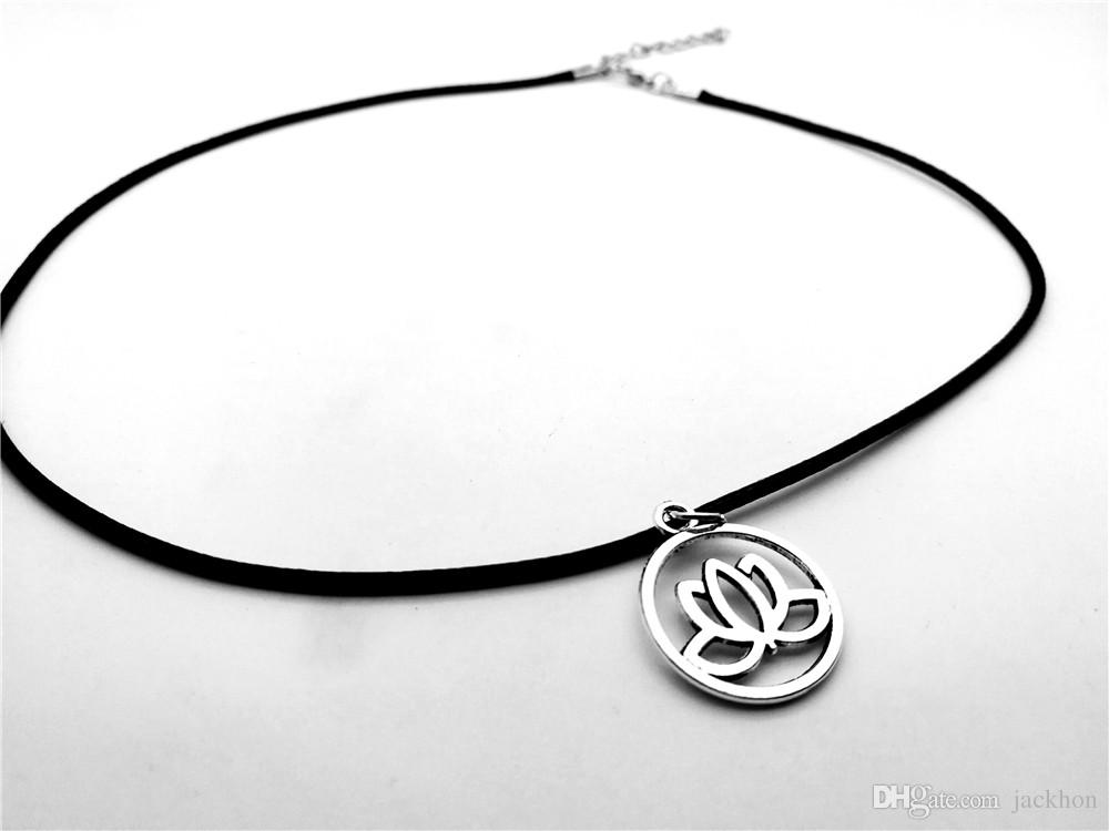 Simple Hollow Lotus Flower Pendant Necklace Charm Tiny Buddhist Elements Plant Lotos Leather Rope Necklaces for Women