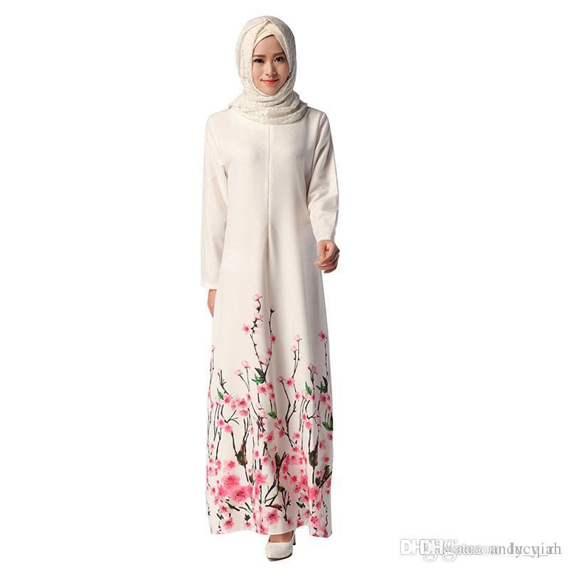 Acquista Abbigliamento Etnico Donne Musulmano Abiti Abito Bianco Abiti  Printed Long Islam Festival Abbigliamento Ladies Tradizione Vestiti 043   A   33.82 ... 450fcb9b34d