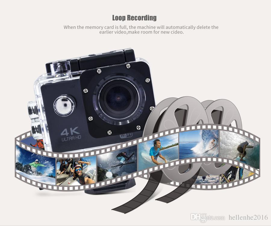 Ультра HD 4K / 30 кадров в секунду экшн-камера 30 м водонепроницаемый 2.0 ' экран 1080P 16 МП пульт дистанционного управления Спорт Wifi камера extreme HD шлем видеокамера автомобиль кулачок