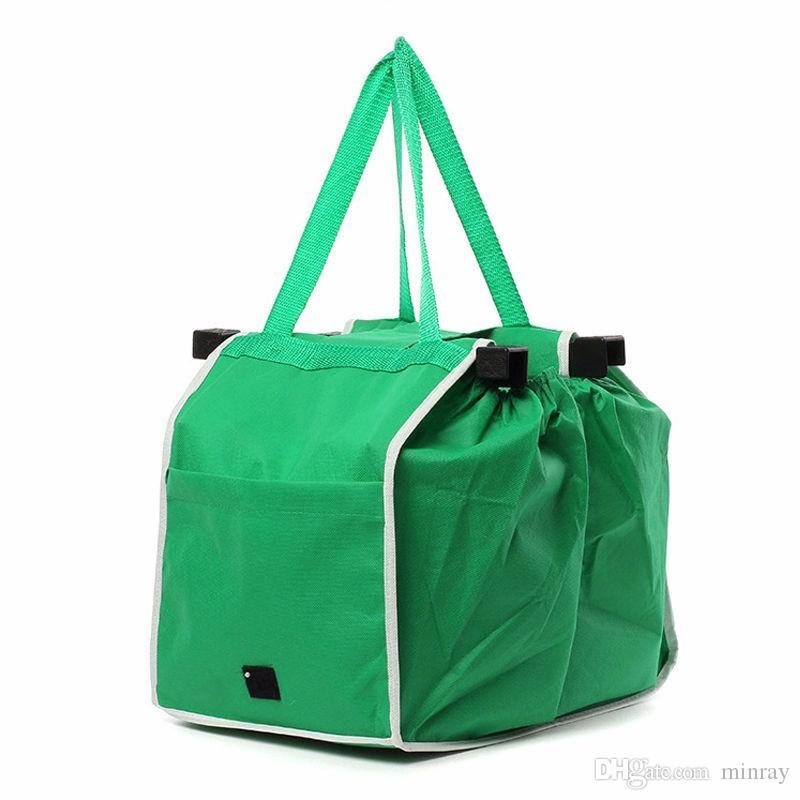 Beliebte New Grab Bag Wiederverwendbare umweltfreundliche Einkaufstaschen, die Clips in Ihren Warenkorb Falztaschen OPP Beutel-Paket FEDEX geben Schiff frei