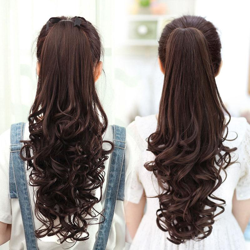 Female Wig Ponytail Long Curly Hair Big Wave Synthetic Wig Long Women Lady Clip In Hair Extensions Hairpiece Pony Tail Wig Ponytail Hair Extensions Online
