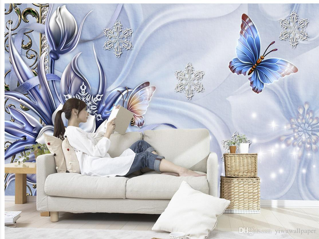 European decorative butterfly decorative drawing mural 3d wallpaper 3d wall papers for tv backdrop