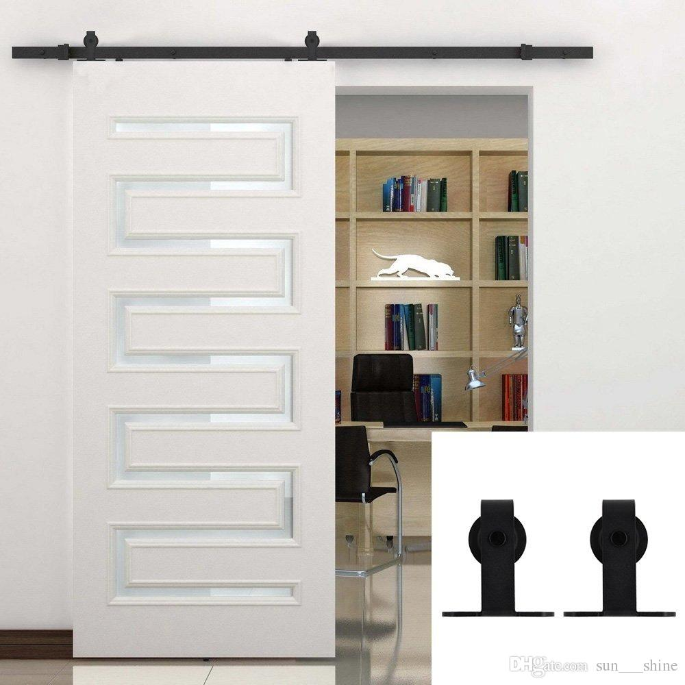 2018 5 16ft Decorative Single Wood Sliding Barn Door Hardware Cabinet  Closet Kit Bending T Formed Style Rolling Flat Track Set Black From  Sun___shine, ...