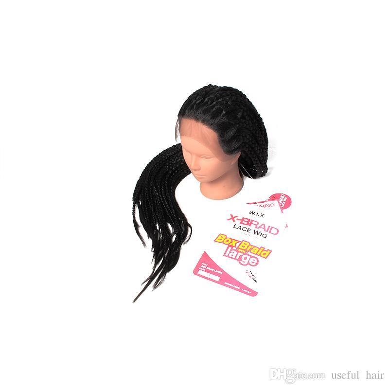 brezilya BOLETO Brezilyalı saça İngiltere ABD, AB Epacket dantel ön peruk örgülü peruk 22inch 3x kutu örgü kadınlar için siyah sentetik peruk