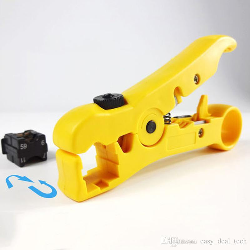 Flat or Round UTP Cat5 Cat6 Wire Coax Coaxial Stripping Tool Universal Cable Stripper Cutter ZJ0129
