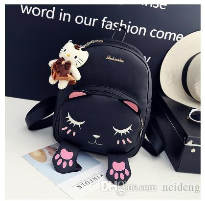 Venta al por mayor- Mochilas escolares Estilo Mujeres Mochila Gato negro Divertido Calidad PU Cuero Moda Mujeres Bolso dulce Bolso de viaje Libros