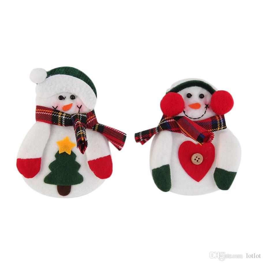 크리스마스 눈사람 나이프와 포크 가방 크리스마스 눈사람 나이프와 포크 세트 크리스마스 장식 빨강 및 녹색