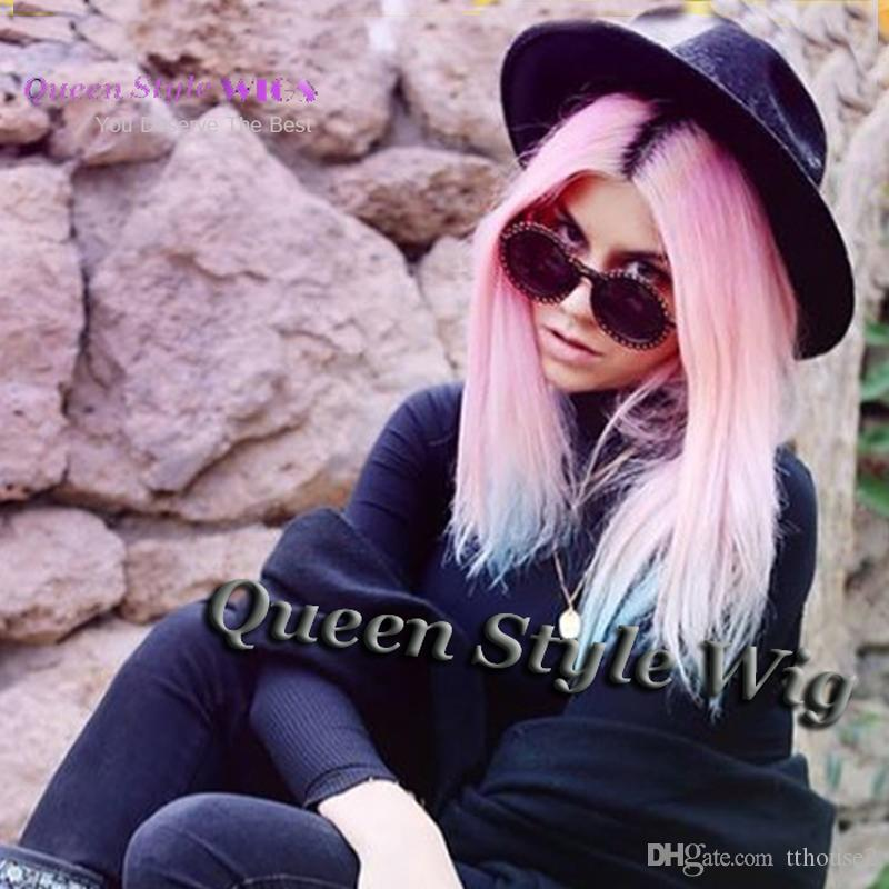 Ombre Pink Teal Pastel Blue Color Hair Wig Synthetic Hair None Lace/Lace Front Wigs Long Straight Soft Hair web celebrity Wig