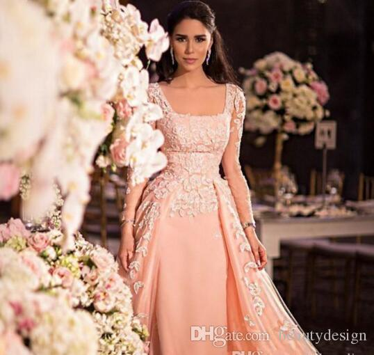 Fabulous Long Illusion Sleeves Arabic Prom Dresses Formal Square Neck Appliqued Sweep Train Formal Evening Gowns Zuhair Murad Coutu