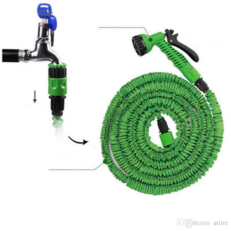100FT Expandable Flexible Garden Magic Water Hose With Spray Nozzle Head Blue Green with retail box