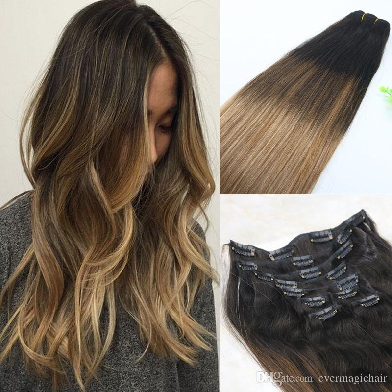8a 120gram Clip In Human Hair Extensions Balayage Ombre Medium Brown