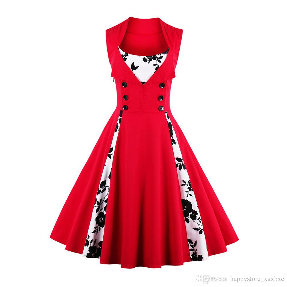 e0072255ae2 2018 Summer 1357 Retro Vestido Black Rose Prints Patchwork 1950s Vintage  Swing Casual Women Maxi Wrap Dress Evening Party Plus Size Clothes And  Dresses ...