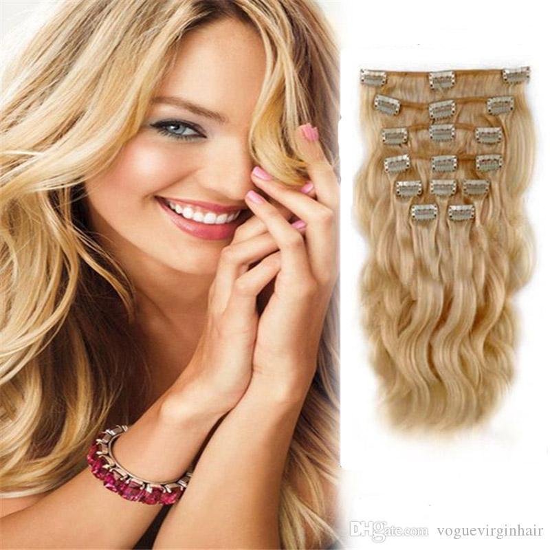 Clip In Human Hair Extensions Brazilian Body Wave 24 Hair Non