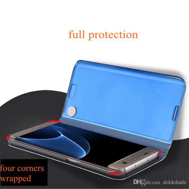 Luxury Mirror Clear View Case for Samsung Galaxy S6 Edge Plus S7 Edge S8 plus Note 5 Note 8 Phone Cover Plating Base Vertical Stand