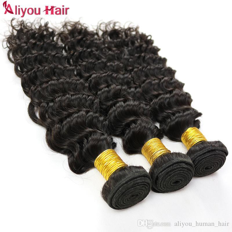 New brasileira onda profunda Cabelo Humano 5/6 Pacotes profunda Curly Weaves peruana Malásia indianos mongol Remy Profunda Cabelo extensões do cabelo encaracolado